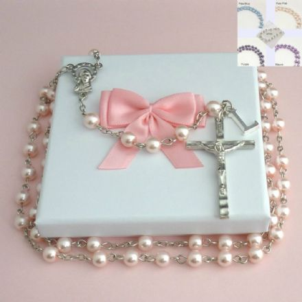 Pearl Rosary Beads with Letter Charm